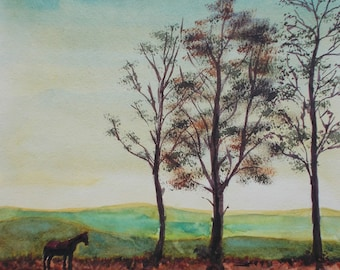 Hills with a horse, original watercolour painting