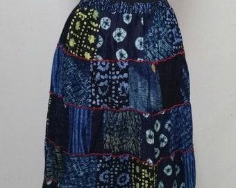 Indigo Hand-dyed Cotton Gipsy Skirt
