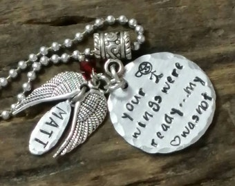 Personalized memorial necklace, made to order