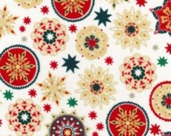 Christmas Snowflakes in multicolour designs Cotton Fabric