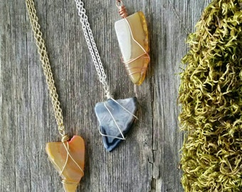 Agate necklace, earthy agate pendant