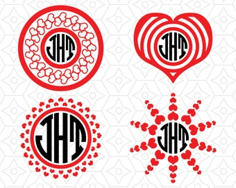 Valentine's Monogram Frame Border Collection, SVG, DXF and AI Vector files for use with Cricut or Silhouette Vinyl Cutting Machines