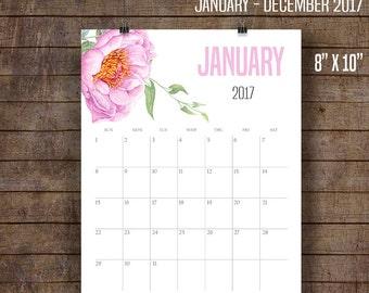 "2017 Wall Calendar, Watercolor flowers calendar, Monthly Printable Calendar, Printable Calendar, 8"" x 10"" files C102"