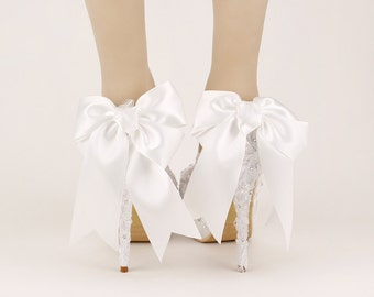 Stylish Womens beautiful Bride lace Wedding Shoes Bridal Shoes