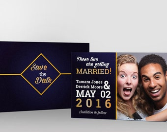 Royal Blue Save the Date Card