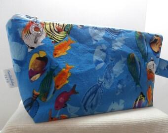 Tropical fish, Ocean fish bag, Wedge bag, Project bag,Crochet bag, Travel bag,All purpose bag,Beautiful bag, Colorful bag
