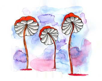mushroom watercolor with 10 x 13 inch mat