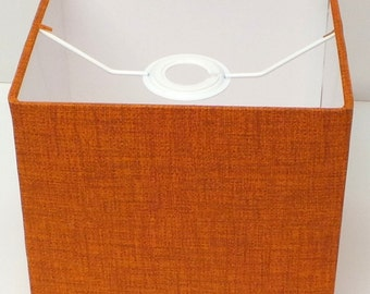 SQUARE/CUBE Burnt Orange / Rust Linen Effect Lampshade, Table Lamp, Pendant, Ceiling Shade