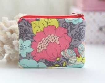 Pretty Flowers Coin Zipper Purse, FREE SHIPPING with another purchase, Padded Purse, Coin Pouch, Change Purse, Zipper Pouch, Little Purse