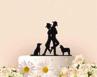 Cute Cowboy Cowgirl Couple with Dogs