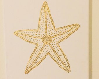 Gold Starfish Painting Acrylic on Canvas Pointillism Cute, Simple, Wall Art