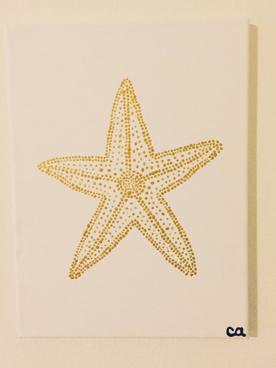 Gold Starfish Wall Decor : Gold starfish painting acrylic on canvas pointillism cute