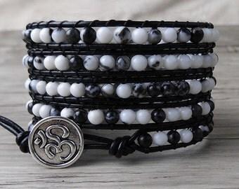 5 wraps bracelet bead wrap bracelet Black jasper bead bracelet Mens wrap bracelet beaded bracelet boho bracelet Yoga Jewelry SL-0112