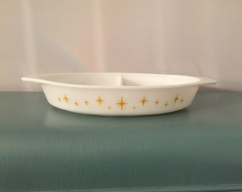 Vintage pyrex promotional constellation divided dish casserole