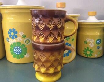 Vintage Yellow Fire King Diamond Pattern Kimberly Mugs