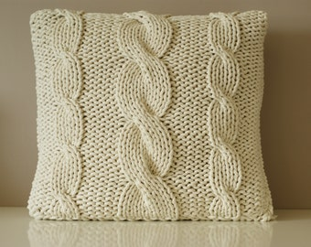 Cable Knitted Pillow Cover Knit Pillowcase Decorative Pillows Pillow covers Knitted Cushion & Hand knitted cushion | Etsy pillowsntoast.com