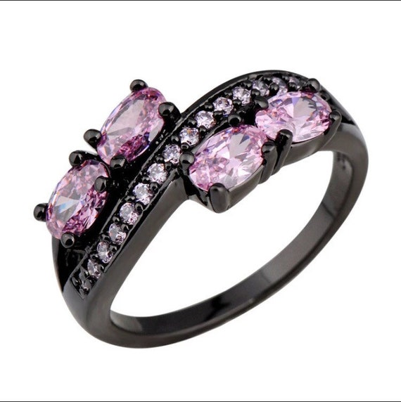 Elegant Pink Stone 10k Black Gold Filled Ring by VictoriasJewels11