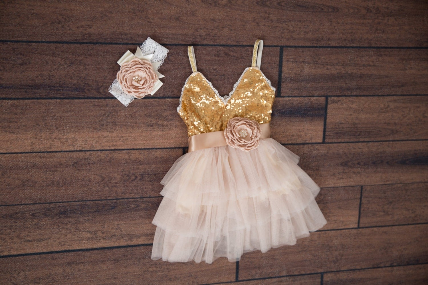 Cream Tulle Flower Girl Dress Champagne Ball Gown Gold Sequin