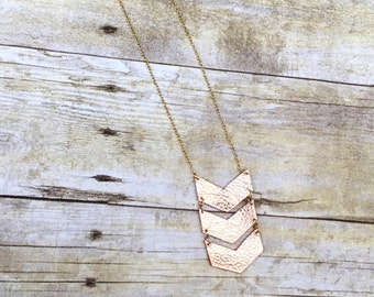 Rose Gold Leather Chevron Necklace