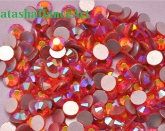 72 pcs flat back rhinestone crystal  HYACINTH orange AB -No Hotfix- available in ss20 (4.8-5mm)