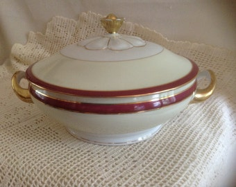 Gorgeous Victoria China Czechoslovakia Covered Serving Bowl