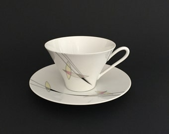 C.M. Hutschenreuther Hohenberg Germany Teacup and Saucer Set; Mid Century Teacup; German Teacup; Porcelain Teacup and Saucer