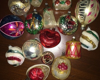 16 Vintage Mercury Glass Ornaments