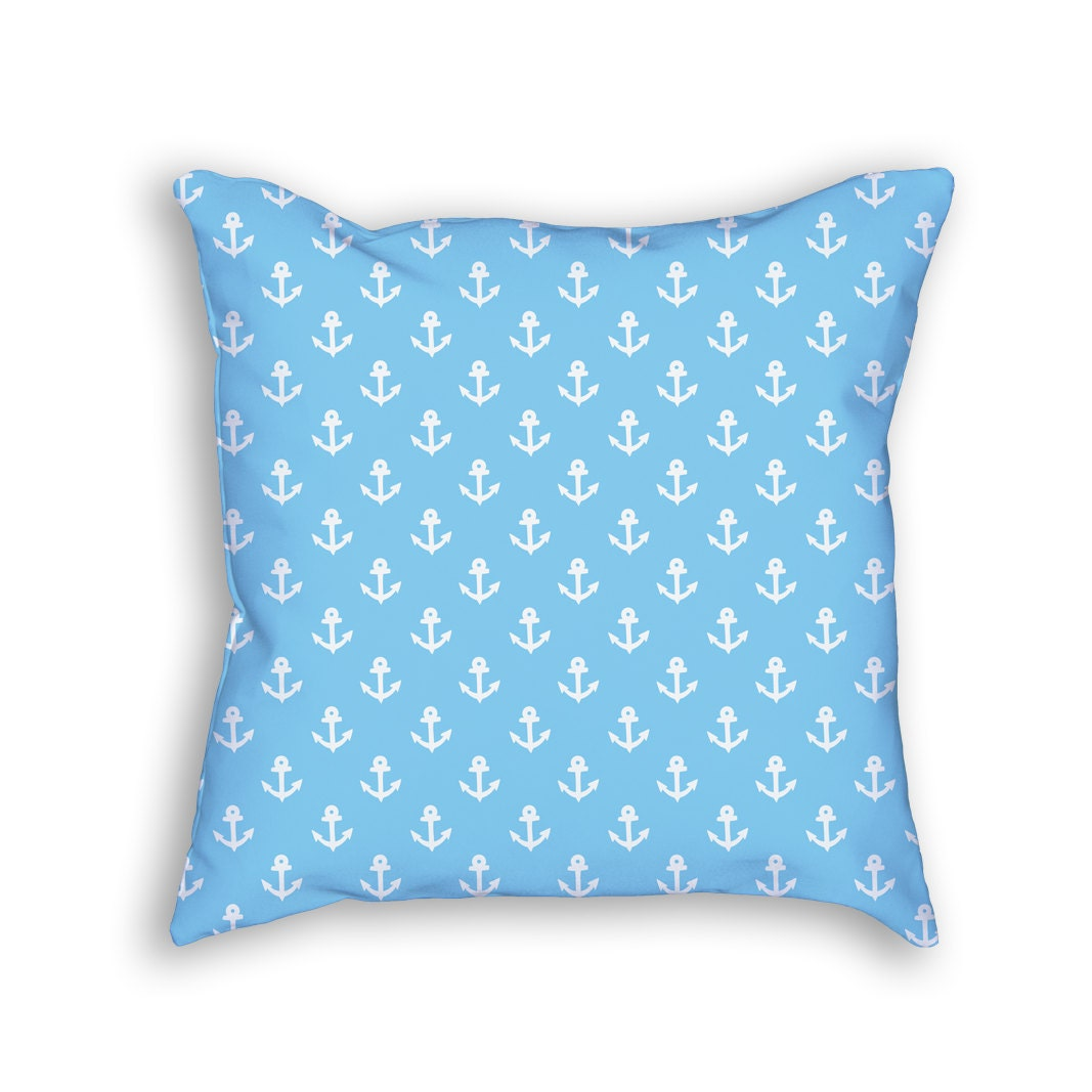 Light Blue Patterned Throw Pillow : Light Blue Anchors Nautical Throw Pillow by ThrowPillowShop