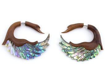 Abalone Shell Swan Wings Saba Wood Organic Fake Gauges Earrings