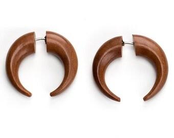 Saba Wood Pincher Fake Gauges Earrings