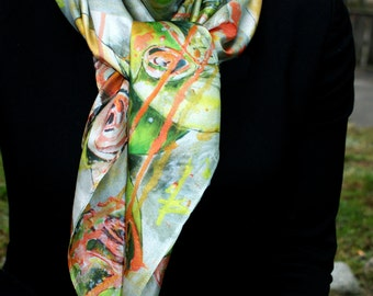 Handmade shawl 100 % silk habotaisilk 130 X 130 cm Fashion Illustration