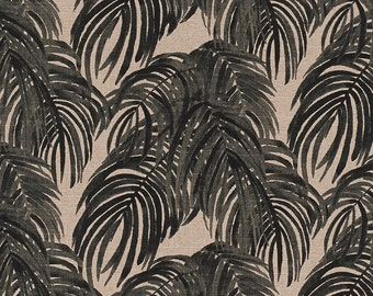 Tailored Valance Villa Palm Leaf Granite Black