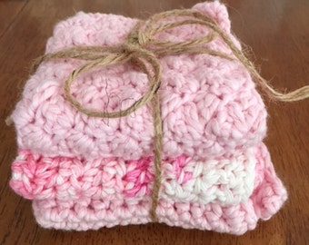 Crocheted Washcloths - Packs of 3