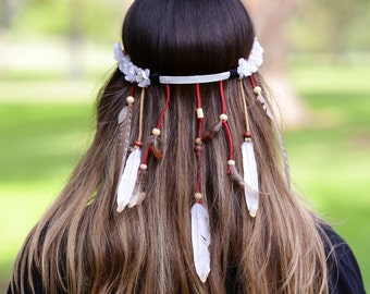 Native american headband with white flowers
