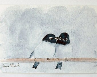 Original post card watercolor of 2 loving birds on a branch, original painting