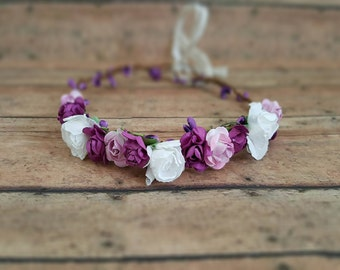 Flower crown, flower halo, flower girl crown, flower headband, wedding crown, newborn prop