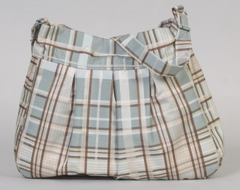 Shoulder Purse/Bag: Teal/white/brown plaid silk