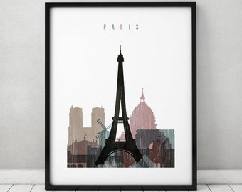 Paris print, Paris distress poster, Wall art, Paris skyline, City poster, Typography art, Gift, Home Decor, travel poster, ArtPrintsVicky.