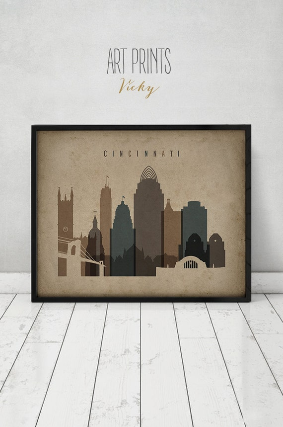 Cincinnati skyline print Poster Wall art Ohio Vintage