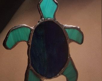 Custom Stained Glass Turtle Suncatcher