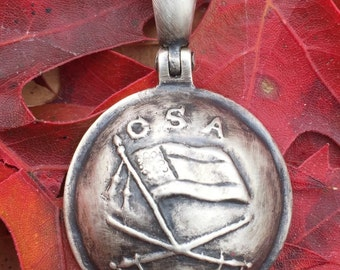 Sterling Silver Confederate JEB Stuart Cavalry Button /Civil War Relic Pendant