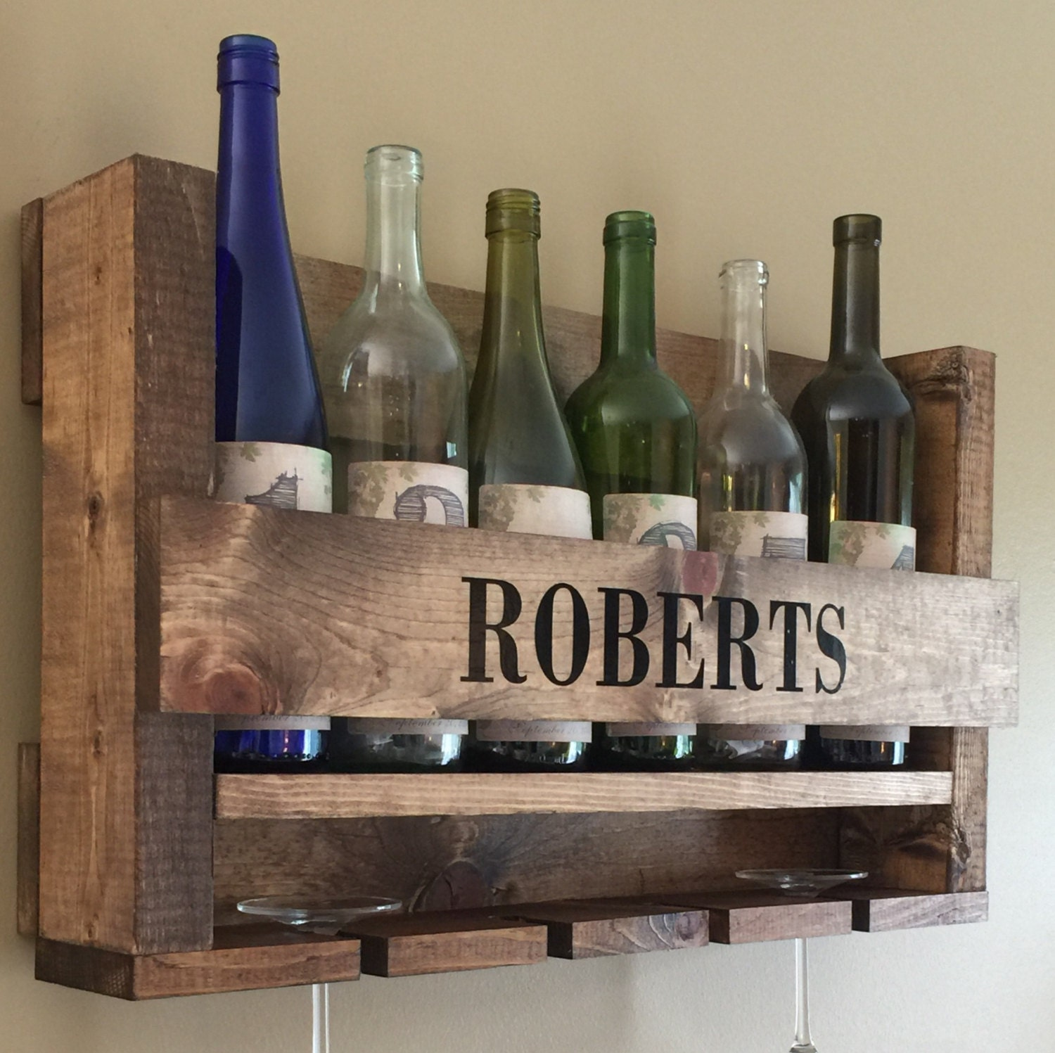 Wine rack wood wine holder wall hanging by robertscraftshop Hanging wooden wine rack