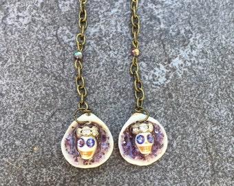 Purple Crowned Skull Earrings