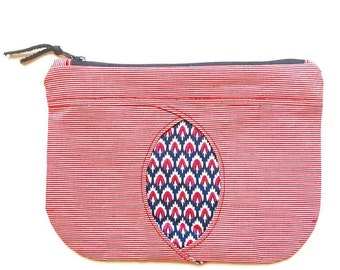 Tsavo zipped peekaboo pouch, Liberty print, red white stripes, fabric window