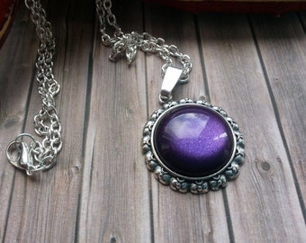 Necklace deep purple silver