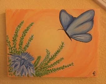 Blue butterfly original painting