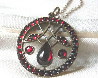 ANTIQUE Bohemian Garnet Pendant on Chain   Cabochon Garnet Pendant   Victorian Garnet Pendant   Bohemian Garnet Necklace  