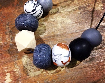 GREY STONE Polymer Clay Necklace