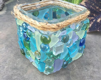 BEAUTIFUL Sea Glass and Mosaic Candle Holder