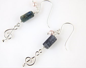 Blue Kyanite, pearl bead and music note charm earrings, music note earrings